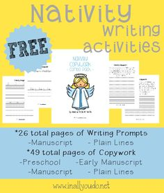 Teach your kids the importance of Christ this Christmas Season with these Nativity Writing Prompts, Copywork and MORE!! 75+ total pages {FREE} ~ In All You Do