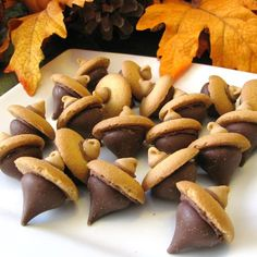 "Acorn Candy Cookies | ""Cute little treats all on their own or a fun decoration for your cupcakes! Enjoy as is or use to decorate cupcakes. If you are good at piping try adding some colored leaves made of frosting to the top of the Nilla® Wafer."""