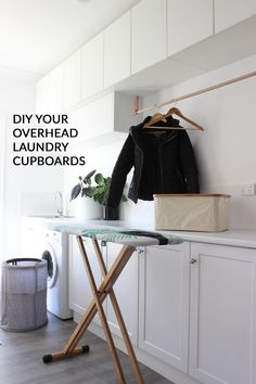 Thanks for stopping by today! Recently I partnered with Kaboodle Kitchen to design some overhead cupboards for my laundry. I knew exactly how I wanted it to look and I knew this would be a reasonably easy DIY project my. Laundry Cupboard, Laundry Room Storage, Laundry Rooms, Laundry Hamper, Cupboard Doors, Diy Cupboards, Kitchen Cabinets, Wall Cabinets, Bathroom Furniture