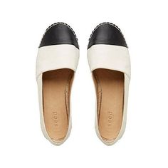 Womens Shoes | Ava Leather Espadrille | Seed Heritage (200 TND) ❤ liked on Polyvore featuring shoes, flats, chaussures, black and white flat shoes, flat shoes, black and white leather shoes, leather espadrilles and leather flats