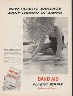 "1953 JOHNSON & JOHNSON BAND-AID vintage magazine advertisement ""plastic bandage"" ~ New plastic bandage won't loosen in water - Meet the champion stay-on, stay-fresh bandage -- the BAND-AID Plastic Strip! It's the most skin-like bandage there is ... ..."