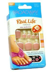 (2 Pack) Broadway nails real life toe nail toenail kit short length + nail art # BRTN05 by Kiss. $2.99. Short length. 24 toenails in 12 sizes.. Glue on nails.. 2 pack!. Comes with pink gel glue 2 g, nail art and manicure stick.. Hard to find item!