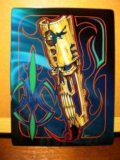 Tiki Skull - on kandied aluminum for The Wizard by, Zach Matthews. Tiki Faces, Tiki Head, Pinstripe Art, Pinstriping Designs, Tiki Art, Garage Art, Airbrush Art, Lowbrow Art, Tropical Art