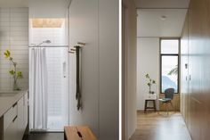 "This  ""Little House"" is a lovely project - should follow the link Saved this because thought the shower curtain didn't look bad! - We might need one in downstairs bathroom.  I do like that stool, plus tile plus black floor look too.  Touches of the Japanese in a modern way."