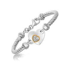 18K Yellow Gold and Sterling Silver Heart Design Bracelet with Diamonds: 7.5 inches