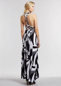 v neck wide halter back convertible dress