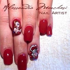 Jessica and Roger Rabbit nail art by Alessandra Marchesi Nail Designer.