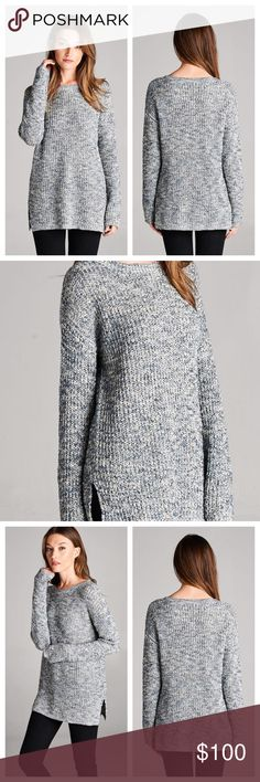 """Cozy Cuddles Pullover Sweater Cozy Cuddles Two Toned Light Denim Pullover Sweater. Features a Crew Neckline with Side Slits. Medium Weight with a Relaxed Fit. 100% Acrylic. Price is Firm.  ✨Use the """"Buy Now"""" or """"Add to Bundle"""" Button to select your size for Purchasing✨ Sweaters Crew & Scoop Necks"""