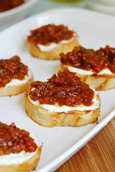 Sun-dried Tomato Jam and Whipped Feta Crostini