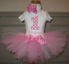First Birthday Tutu outfit Personalized Set by BirthdayCouture4U, $39.99