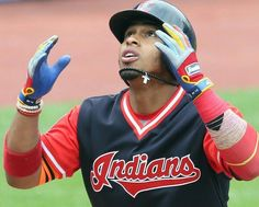 Cleveland Indians Francisco Lindor looks to the sky approaching home plate after he connected for a 2 run homer in the 2nd inning against the Kansas City Royals at Progressive Field, Cleveland, Ohio, on August 27, 2017. This put the Indians up 5-0. (Chuck Crow/The Plain Dealer). Indians won 12-0 Cleveland Ohio, Cleveland Indians, Indians Baseball, Lindor, August 27, Kansas City Royals, Crow, Coasters, Plate
