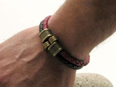 JJ1 - Men's black and red braided leather bracelet with brass plated spacers.
