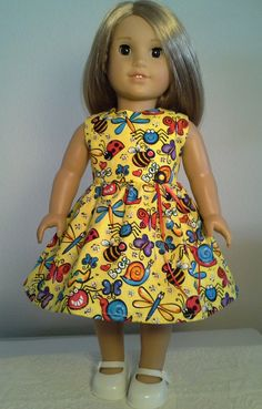 """18 inch Doll Clothes Handmade Yellow Print Dress with Butterflies & Insects made to fit 18"""" dolls by Reallycutecreations on Etsy"""