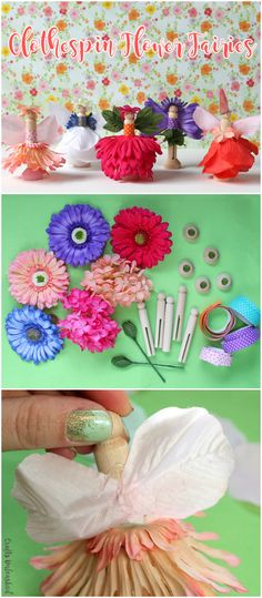 You'll love this whimsical project for sweet DIY fairy clothespins adorned with artificial floral outfits and embellishments.