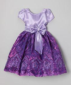 Purple Sequin Bow A-Line Dress - Infant, Toddler & Girls #zulily #zulilyfinds