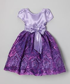 Look what I found on #zulily! Purple Sequin Bow A-Line Dress - Infant, Toddler & Girls #zulilyfinds
