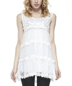 Look at this Simply Couture White Polka Dot Lace Sleeveless Tunic on #zulily today!