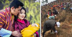 How does Bhutan, the world's most eco-friendly and carbon-negative country, celebrate the birth of their new prince? By planting trees of course. Lots and lots of trees.
