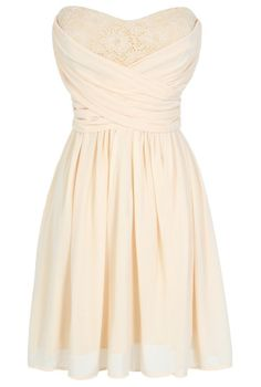 Peekaboo Lace Strapless Chiffon Dress in Cream www.lilyboutique.com