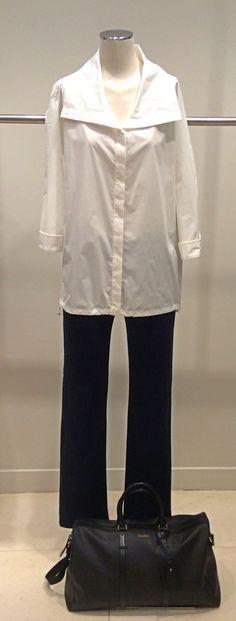 100% Cotton MaxMara White Shirt | MaxMara Weekend Navy Cotton Blend Denim | MaxMara Black Leather Blend Bag.  Prices on request.