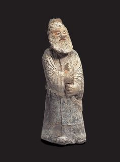 """""""Clay Figure of a Civilian Official Yonggang-dong, Gyeongju. Unified Silla, 8th C. / H. 17.0cm.  This clay figure was excavated from a stone-chamber tomb in Yonggang-dong in 1986."""" Source: Gyeongju National Museum http://gyeongju.museum.go.kr/html/en/master/master_01.html?GotoPage=4==10"""