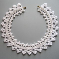 White Crochet Lace Choker Necklace by KnittingGuru,