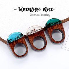 Wooden Rhinestone-like Resin Handmade Ring Fantasy Magic Forest Landscape Punk For Women Men Jewelry Gift Idea by JerBrill on Etsy