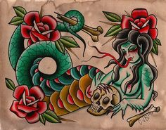 Serpentina by Chelsea Jane Snake Woman Tattoo Giclee Canvas Art Print – moodswingsonthenet