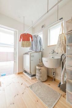 【アイジースタイルハウス】部屋干し。雨の日も安心、洗面台がシンプル&可愛いランドリールーム