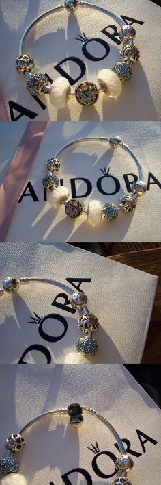 Fine Charms and Charm Bracelets 140956: Pandora Sterling Silver Bangle Bracelet 19Cm ~ 7.5 In. With Charms And Beads -> BUY IT NOW ONLY: $52.96 on eBay!
