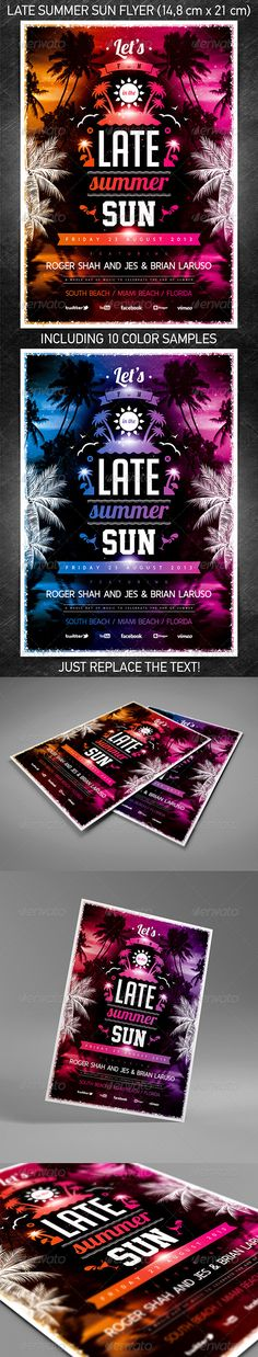 """Late Summer Sun Party Flyer"" for a mainstream music summer/spring event or any other night club event.  You can download and learn more about this PSD template at the following link – http://graphicriver.net/item/late-summer-sun-party-flyer/5287562?ref=4ustudio   More flyers and posters here: http://graphicriver.net/user/4ustudio?ref=4ustudio"