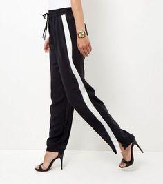 Black Side Stripe Wide Leg Trousers   New Look