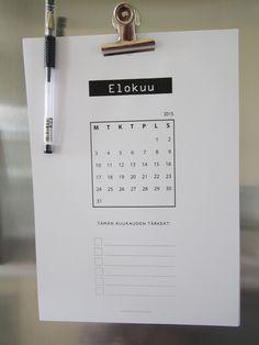 Ilmainen tulostettava kalenteri 15/16, olkaatte hyvät :)