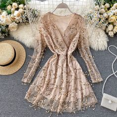 V-Neck Vintage Long Sleeve Sequin Beach Party Short Dress in Dresses Free worldwide shipping! Party Dresses For Women, Club Dresses, Short Dresses, Pageant Dresses, Girls Dresses, Dress Outfits, Casual Outfits, Fashion Dresses, Stylish Dresses