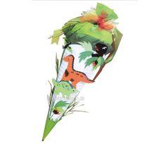 Schultüte Dinosaurier Bastelset - Gräser und Blätter