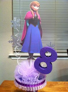Double sided Frozen Centerpiece with Base and Age Number