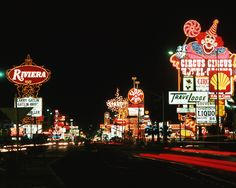 Las Vegas c.1982. Looking south at the Las Vegas Strip from Riviera & Circus Circus.