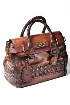 gucci - brown leather braided handbag. Only Gucci bag I actually love. | See more about leather bags, brown leather bags and leather handbags.