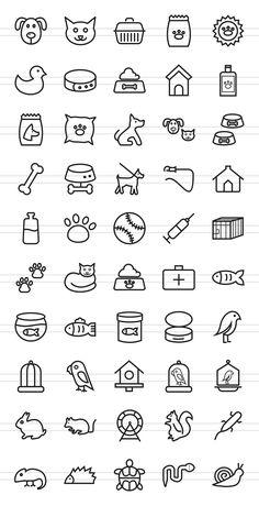 50 Pet Shop Line Icons von IconBunny auf Kreativmarkt - Workstuff Templates - Cat Easy Doodles Drawings, Easy Doodle Art, Cute Easy Drawings, Mini Drawings, Small Drawings, Simple Doodles, Cute Doodles, Bullet Journal Writing, Bullet Journal Ideas Pages