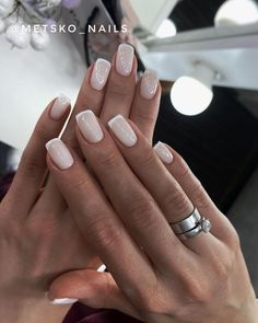 Summer French Manicure, Shellac French Manicure, French Manicure Designs, Uv Gel Nails, Diy Nails, Nail Designs, French Acrylic Nails, White Short Nails, Nail Polish Dupes