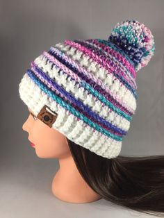 127c3f27c64 Crochet Leninger Teen Women s Striped Autumn Textured Pom Pom Hat Beanie Cap  Handmade with Removable Pom Pom! Gift Boutique