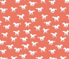 galloping horses in salmon - papersparrow