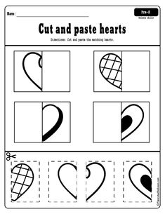 Cut and paste hearts worksheets for fine motor skills - Free cut and paste worksheets for a fun way to practice cutting skills in preschool. Free Preschool, Preschool Classroom, Preschool Learning, In Kindergarten, Preschool Activities, Time Activities, Spanish Activities, Worksheets For Preschoolers, Preschool Worksheets Free
