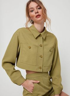 This is a softly structured jacket with button closures and double patch pockets. It's made with a textural basketweave fabric from Japan. Casual Outfits, Cute Outfits, Fashion Outfits, Womens Fashion, Fashion Trends, Emo Outfits, Punk Fashion, Lolita Fashion, Summer Outfits