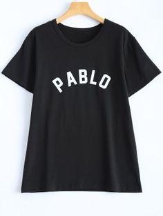 Casual Streetwear Letter T-Shirt - Black