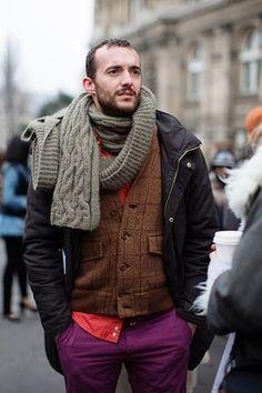 Men's Grey Knit Scarf, Brown Plaid Wool Blazer, Red Longsleeve Shirt, Black Parka, and Purple Chinos Fashion Moda, Mens Fashion, Fashion Menswear, Street Fashion, Black Parka, French Man, Red Long Sleeve Shirt, Looks Street Style, Sartorialist