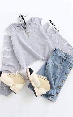 Grey ladder ripped sleeve raw hem crop sweatshirt with denim skirts and bei Tween Fashion, Cute Fashion, Look Fashion, Fashion Pants, Korean Fashion, Fashion Outfits, Fashion Clothes, Fashion Trends, Cute Teen Outfits