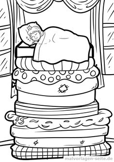 Coloring page The princess on the pea fairy tale - Malvorlagen - Ausmalbilder - Coloring Pages For Girls, Colouring Pages, Free Coloring, Coloring Books, Doodle People, Hand Embroidery Patterns Flowers, Princess And The Pea, Envelope Art, Color Stories