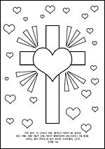 FREE Printable Christian Bible Kids Colouring Pages About Love John 316 Cross Heart
