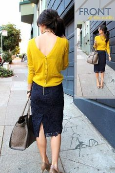 Back Button Dark Yellow Sweater With Lace Skirt and Handbag